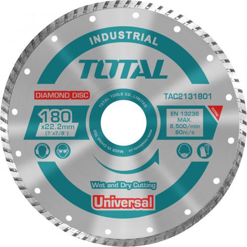 Διαμαντόδισκος Univeral turbo υγράς και στερεάς κοπής Φ180 TOTAL TAC2131801