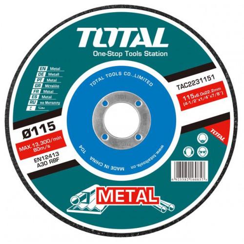 Δίσκος λείανσης μετάλλου Φ115 25τεμ TOTAL TAC2231151