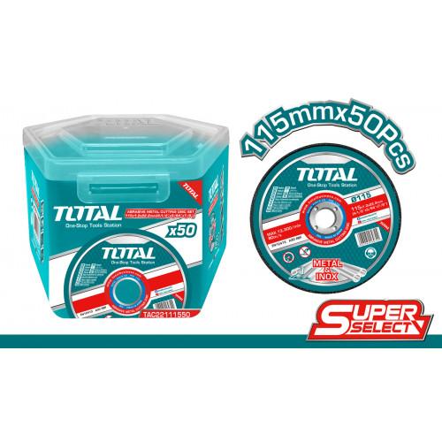 Δίσκος κοπής INOX / μετάλλου 115x1.2mm σε πλαστικό κουτάκι 50τεμ TOTAL TAC22111550